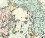 Antique Map of North Pole Stock Photos