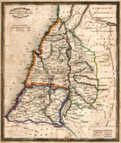 Antique Map of Old Israel. Vintage original map of old Israel, line colored, dated 1836 Stock Images