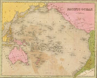 Antique map of the Pacific Ocean Stock Image