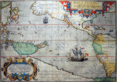 Antique map of the Pacific Ocean Royalty Free Stock Image