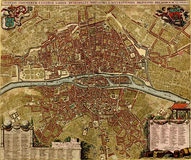 Antique map of Paris Stock Images