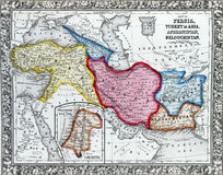 Antique map of Persia, Turkey in Asia. Stock Images