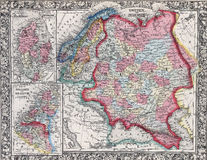 Antique map of Russia in Europe, Sweden, and Norway Royalty Free Stock Images