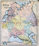 Antique Map of Russia in Europe Royalty Free Stock Images