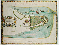 Antique map showing Manhattan and Dutch settlement. Photo from old reproduction Stock Photography