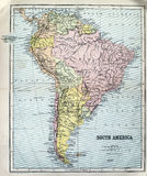 Antique Map of South America. Victorian era map of South America originally published in 1880 stock photography