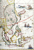 Antique map, southeast asia region. An image showing an old map of the southeast asian region. Antique map is beautifully colored and decorated with pictures of stock photo