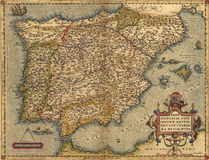 Antique Map of Spain Royalty Free Stock Photo