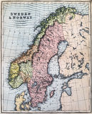 Antique Map of Sweden and Norway Stock Photography