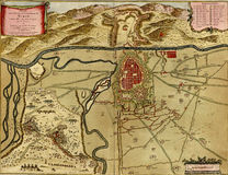 Antique map of Turin, Italy Stock Photography