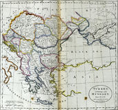 Antique map of Turkey in Europe and Hungary Royalty Free Stock Images