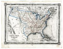 Antique Map of United States in 1846 Royalty Free Stock Images