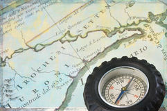 Antique map of upstate New York and retro compass Stock Photos