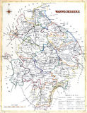 Antique map of Warwickshire Stock Image
