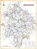 Antique map of Warwickshire Stock Image