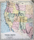 Antique Map of Western States of USA Stock Photography