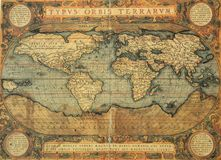 Antique map of world. Reproduction of 16th century map of the world  engraved and colored by the famous dutch cartographer Abraham Ortelius Stock Images