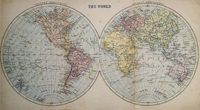 Antique Map of World. Victorian era map of the World originally published in 1880 royalty free stock photos