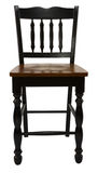 Antique Maple Bar Stool. In Painted Black Distressed Finish Stock Image