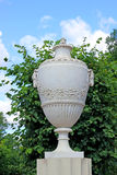 Antique marble amphora on a stone pedestal in the park Stock Photography