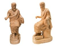 Antique marble statuette of Socrates isolated. On the white background royalty free stock images
