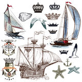 Antique marine collection with ships, crowns, anchors in vintage Royalty Free Stock Photo