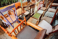 Antique market in Istanbul with wooden furniture Stock Photos