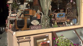 Antique market window in old town stock footage