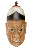 Antique Mask. Old wooden mask isolated on a white background Royalty Free Stock Photos