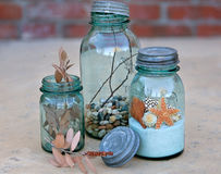 Antique mason jars Royalty Free Stock Image