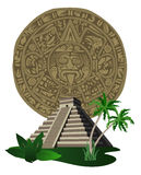 Antique Mayan Pyramid and Calendar Royalty Free Stock Images