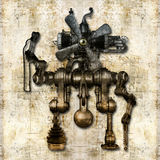 Antique mechanical figure stock illustration
