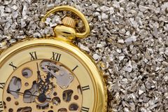 Antique mechanical pocket watch. Royalty Free Stock Photography