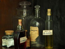 Antique Medication Bottles Royalty Free Stock Images