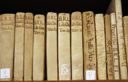 Antique medieval books at Mallorca biblioteque royalty free stock photo
