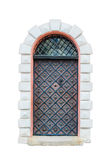 Antique medieval window with iron bars isolated on white background.  Royalty Free Stock Image