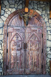 Antique medieval wooden door: concept for entry, gateway Royalty Free Stock Photos