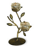 Antique metal candlestick with burning candle Royalty Free Stock Image
