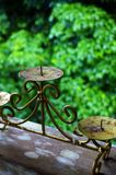 Antique metal candlestick holder stock photos