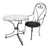 Antique Metal Chair and Table Stock Images