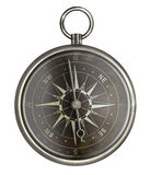 Antique metal compass with dark face isolated Stock Photo