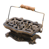 Antique metal portable roaster. Stock Photo