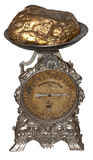 Antique metal table scales. Over white Royalty Free Stock Photos