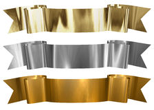 Antique Metallic banners. Various metallic frames in gold, silver and bronze colors. Clipping path available Stock Images