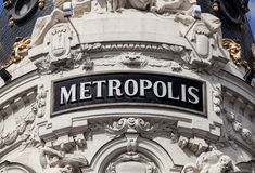 The Antique Metropolis Sign in Madrid. Spain Royalty Free Stock Photography