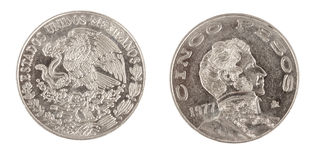 Cinco pesos coin. Antique mexican coin from mexico. Made of silver, from 1977 Stock Images