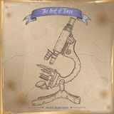 Antique microscope hand drawn sketch placed on old paper background. Royalty Free Stock Photography