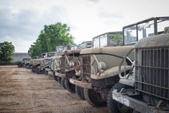 Antique military truck grunge with rust, parking on the ground i Stock Photos