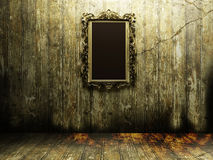Antique mirror in a dark room Royalty Free Stock Images