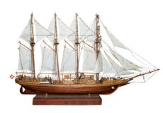 Antique Model Sailing Ship Stock Images